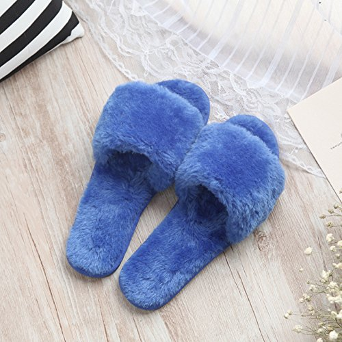 Fankou fondo piatto pantofole di cotone femmina esterno inverno indossare pantofole home incantevole autunno inverno spesso maglione anti-slittamento ,37-38, blu