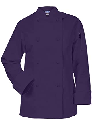 Amazon.com: Newchef Fashion Purple Ladies Chef Coat Long Sleeves ...