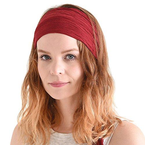 CHARM Womens Headband Boho Headwrap - Turban Head Wrap Festival Retro Hair Accessory Pirate Hairband Dark Red]()