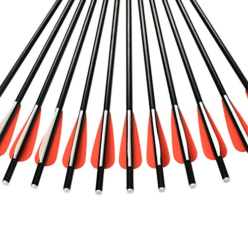 NIKA ARCHERY 12X 14 Crossbow Bolts Fiberglass Arrows with Flat Nock for Outdoor Hunting