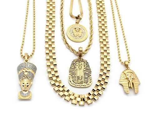 Mens Gold Tone 9Pcs Pharaoh Collection Bundle Includes 4 Pendants and 5 Chains - 18mm Rope Chain