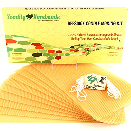 Make Your Own Beeswax Candle Kit - Includes 10 Full Size 100% Beeswax Honeycomb Sheets in GOLD and Approx. 6 Yards (18 Feet) of Cotton Wick. Each Beeswax Sheet Measures Approx. 8