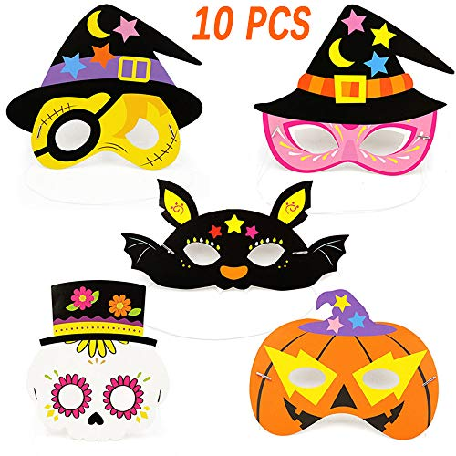 10 Pcs Halloween Party Cosplay Masks (Pumpkin Bat Pirate Crown Skeleton) Party Favors Dress-up Costumes ()
