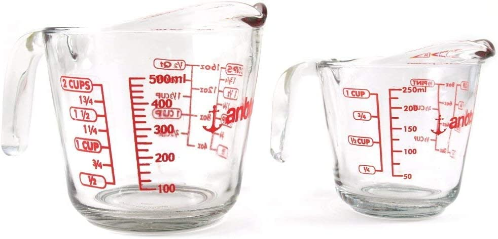 Anchor Hocking 2 Piece Glass Measuring Cup Set 16 oz and 8 oz