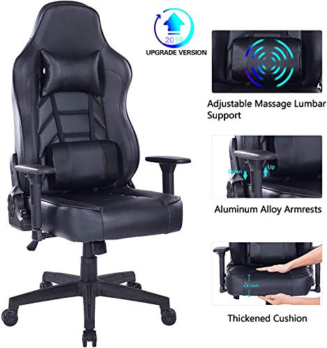 HEALGEN Gaming Chair with Massage Lumbar Pillow, PC Computer Video Game Racing Chair Reclining Executive Ergonomic Office Desk Chair with Headrest (8291-Black)