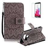 Funyye Strap Magnetic Flip Cover for LG V20,Premium Gray Embossed Sunflower Pattern Folio Wallet Case with Stand Credit Card Holder Slots Case for LG V20,Shockproof Ultra Thin Slim Fit Full Body PU Leather Case for LG V20 + 1 x Free Screen Protector
