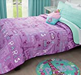 PARIS PURPLE/MINT NEW COLLECTION REVERSIBLE LIGHT COMFORTER SET COMPLETED 9 PCS TWIN SIZE