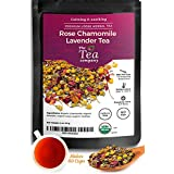 Rose Chamomile Lavender Herbal Tea for Stress Relief and Bedtime Organic Loose Leaf by The Tea Company 4oz