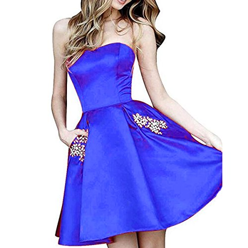 TTYbridal Strapless Beaded Homecoming Dresses Short Satin Cocktail Prom Gown with Pockets 6 Royal Blue