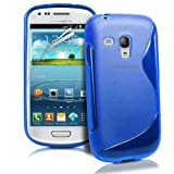 Galaxy S3 Mini Case - Blue S-Line Silicone Gel Back Cover for Samsung Galaxy S3 Mini, Screen Protector Included