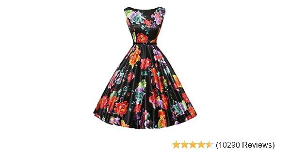 f84d7d91a6cd0 GRACE KARIN Boatneck Sleeveless Vintage Tea Dress with Belt