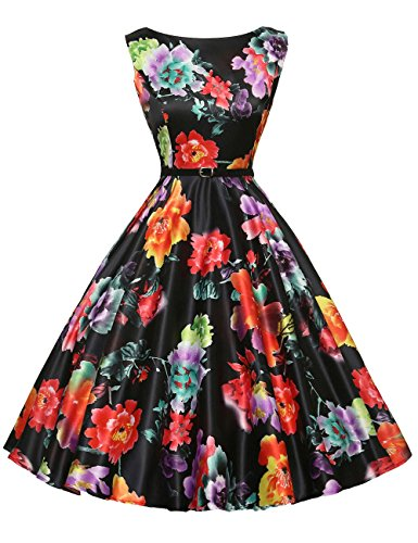 GRACE KARIN Sleeveless Pin-Up Vintage Dress 50's 60's Floral Print XS F-14 - Ball In Earrings Vintage
