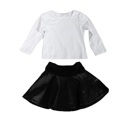 Pour 1–6ans filles, clode® pour enfant Kid filles Costume Vêtements T-shirt à manches longues Tops et en cuir synthétique Jupe Vêtements Set