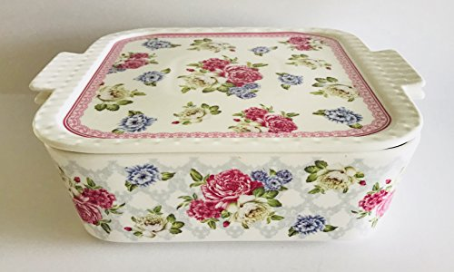 Hydrangeas & Butterflies Decorate This Spring | 3 In 1 Oven Safe Lidded Porcelain Baking Dish | Casserole | Use The Lid For A Tray Or Trivet | (Peonies Pink & Blue | Square 8.5 x 8.5 inches) by Grace's Pantry