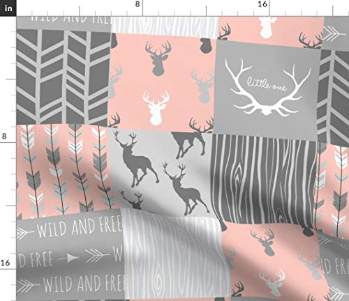 Spoonflower Girls Deer Quilt Fabric - Quilt Grey Patchwork Baby Girl Woodland Nursery Nursery Decor Cheater Quilt by Sugarpinedesign Printed on Basic Cotton Ultra Fabric by The Yard