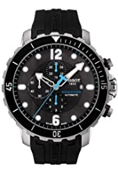 Tissot Seastar Black Dial SS Silicone Chrono Auto Men's Watch T0664271705702