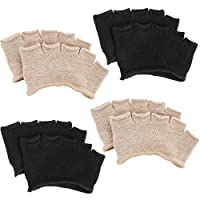 kilofly 4 Pairs Women's No Show Five Toe Heelless Forefoot Half Boat Socks Set