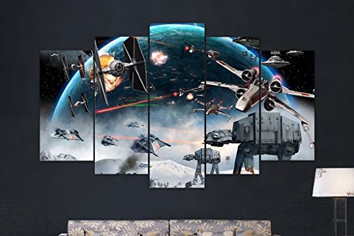 5PCS Framed Star Wars Battle - 5 Piece Canvas Battle Canvas Star Wars on Canvas Wall Art for Office and Home Wall Decor ... (Large: 3050cm2+3070cm2+3080cm1) (Star Wars Battle 5 Piece Canvas Painting)