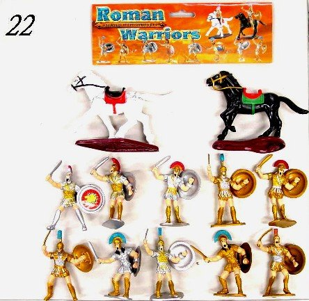Roman Warriors Figure Playset (10 Warriors w/Shields & Weapons & 2 Horses) (Bagged) by -