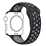 Apple Watch Band, Ocydar Soft Silicone Nike+ Sport Style Replacement iWatch Strap Band for Apple Watch Series 1 Series 2, Apple Watch Nike+, M/L Size - 42MM Black / Cool Gray