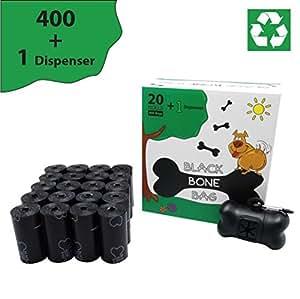 Black Bone Bag - Reciclable y resitente bolsas para excrementos de perro con dispensador y clip para correa