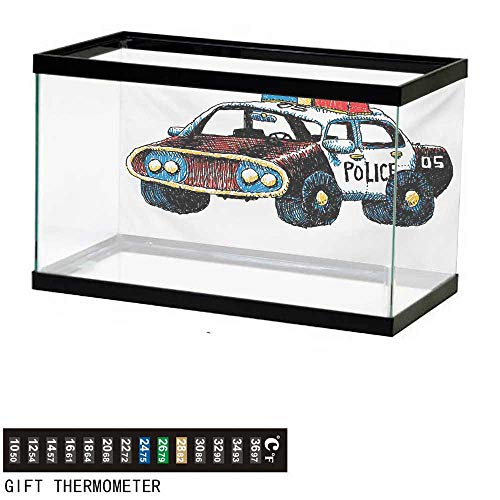 wwwhsl Aquarium Background,Police,Cartoon Hand Drawn Police Car Unusual Design with Sketchy Coloring Print,Red Yellow and Blue Fish Tank Backdrop 72