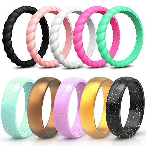 (Wooany Silicone Wedding Ring for Women - 10 Packs Thin and Stackable Silicone Ring - Confortable and Skin Safe Rubber Wedding Bands for Women&Kids - Designed for)