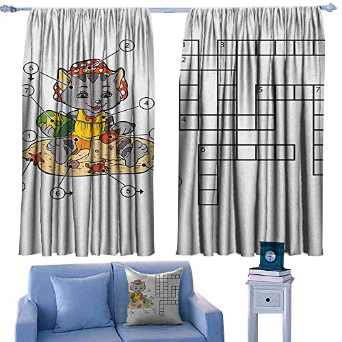 GAAGS Print Window Curtain,Word Search Puzzle Crossword Game for Children Cute Cat on Beach and Building Sand Castles,Rod Pocket Drapes Thermal Insulated Panels Home décor,W72x45L Inches Multicolor