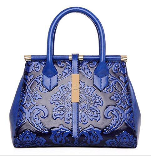 PINCHU Bolso Casual De La Oficina del Totalizador Floral De La Mano del Totalizador del Diseñador De Las Mujeres,Blue Blue