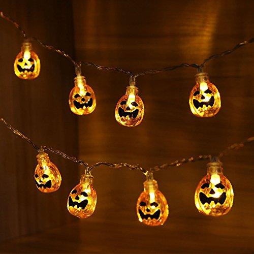 Halloween String Lights – Aukora 20 LED Battery Operated 3D Halloween Pumpkin Lights Warm White Fairy String Lights for Halloween Christmas (Halloween Au)