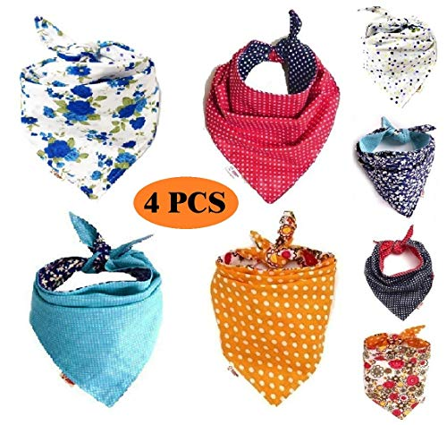 FUNPET 4 Pcs Dog Bandana Triangle Bibs Bright Coloured Scarfs Accessories for Pet Cats and Baby Puppies
