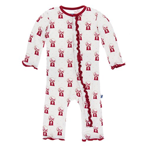 KicKee Pants Little Girls Print Muffin Ruffle Coverall with Snaps - Natural Gumball Machine, 9-12 Months ()