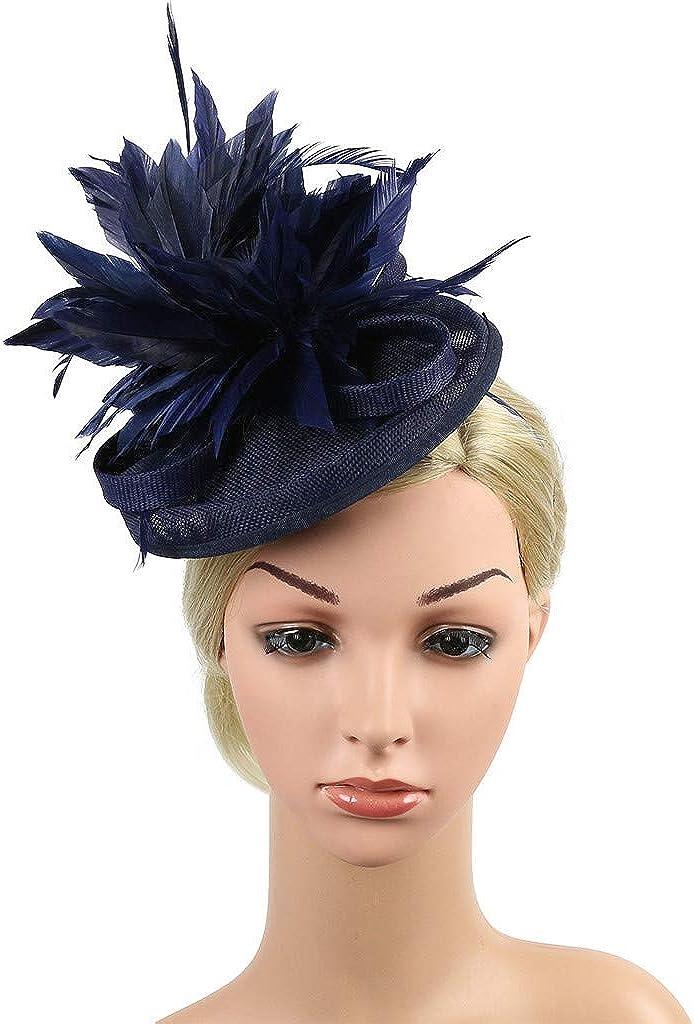 STRIR Mujeres chica Diadema tocados pelo Clip Horquilla sombrero boda coctel Tea Party sombrero de la pluma banquete de fiesta Novia Adornos para el pelo