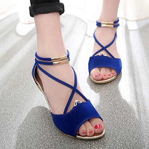 Tied Caviglia Blu Moda Alla Sandali Solid con Toe Zeppe Scarpe Roma Donna Donna Flock Cinturino Peep Sandali Cross pq40p