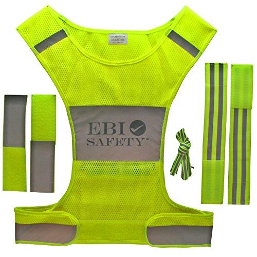 Adjustment Motor (Reflective Running Vest Set. Includes Mesh Vest (with pocket) / 2 Reflective Bands / Shoelaces / 2 Adjustment Straps. For Jogging / Biking / Walking / Cycling / Motorcycle Riding)