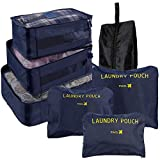 Lictin Compression Travel Luggage Packing Organizers with Laundry Bag, 7 Set Packing Cubes with Shoe Bag, Compression Pouches for Luggage (Dark Blue)