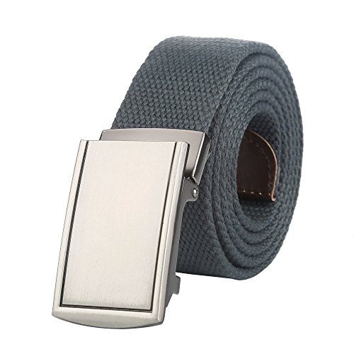 Logoed Mens Belt Buckle - Gelante Canvas Web Belt Military Style Belt (Style #2: Grey)