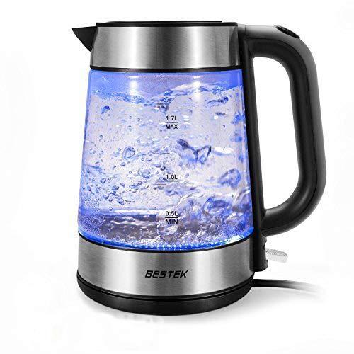 BESTEK Electric Glass Kettles, 3000W Fast Boil Kettle, Blue LED Illumination, 1.7 L Electric Cordless Kettle BESTEK GLOBAL LTD BTF625-NEW-UK