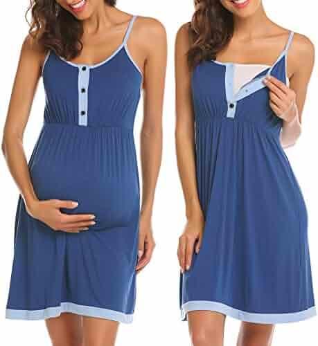 89cd3a8271 Ekouaer Women s Maternity Dress Nursing Nightgown Breastfeeding Full Slips  Sleepwear S-XXL