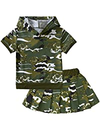 POBIDOBY Boys' Kids Camouflage 2Pcs Clothes Set Hooded Tops T-Shirt and Short