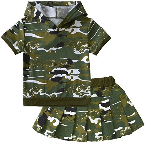 Girls' Camouflage Clothes Set Hooded Tops T Shirt and Skirt with Short G-Green 4T