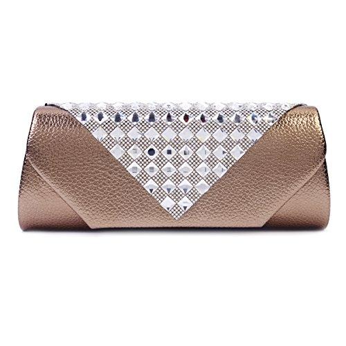Diseño de diamante de imitación Damara de boda bolso de mano, color negro, talla large marrón - Caffee