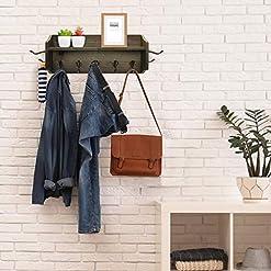 Entryway Wall Hanging Coat Hooks with Shelf, Farmhouse Coat Rack Wall Mounted, Rustic Entryway Shelf with Hooks, Stylish Hat Rack…
