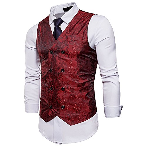 NiuZi Men's Vintage Slim Fit Floral Jacquard Double-Breasted Suit Vest V-Neck Dress Waistcoat For Party,Wedding,Nightclub (Red, M) (Jacquard Dress Coat)