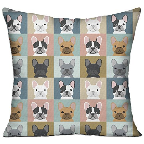 CY STORE French Bulldog Pattern Square Cotton Linen Sofa Cushion Covers Decorative Home Zippered Custom Throw Pillow 18 X 18 Inch(contain Pillow Core)