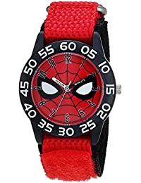 Boys Spider-Man Analog-Quartz Watch with Nylon Strap, red, 16 (Model: WMA000186