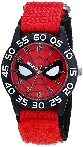 Marvel Boy's 'Spider-Man' Quartz Plastic and Nylon Casual Watch, Color:Red (Model: WMA000186)