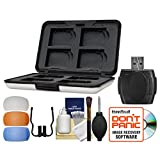 Power2000 Aluminum 8 SD SecureDigital Memory Card Protector Case with Reader + Flash Diffusers + Cleaning Kit