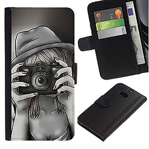 Ihec-Tech / Flip PU Cuero Cover Case para HTC One M8 - Retro Vintage Selfie Painting