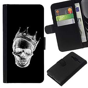 All Phone Most Case / Oferta Especial Cáscara Funda de cuero Monedero Cubierta de proteccion Caso / Wallet Case for Samsung Galaxy Core Prime // Crown Black White Skull Death Rock